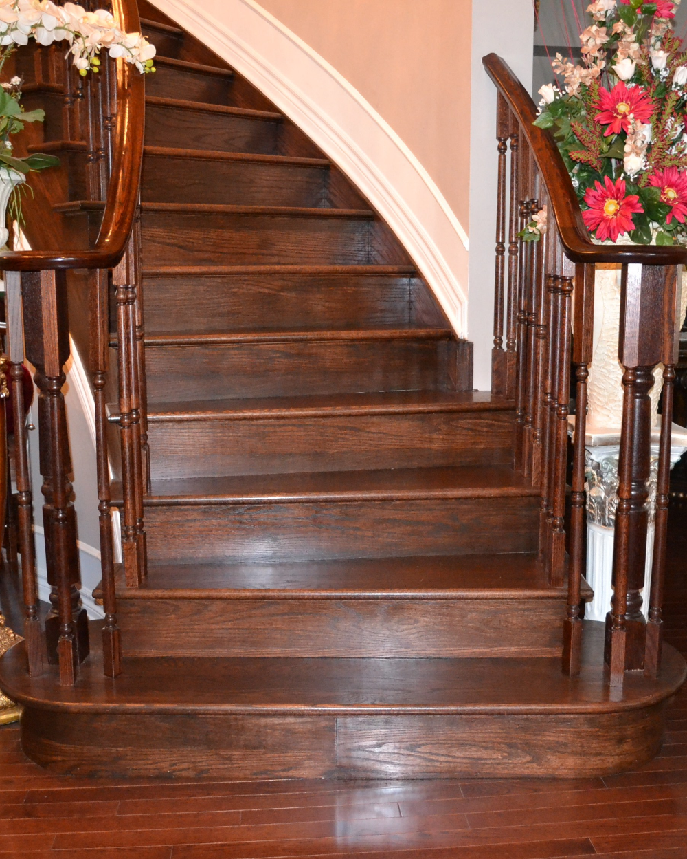 Wooden Stairs With Painted Stripes Updating Interior: Colonial Wood Stained Staircase