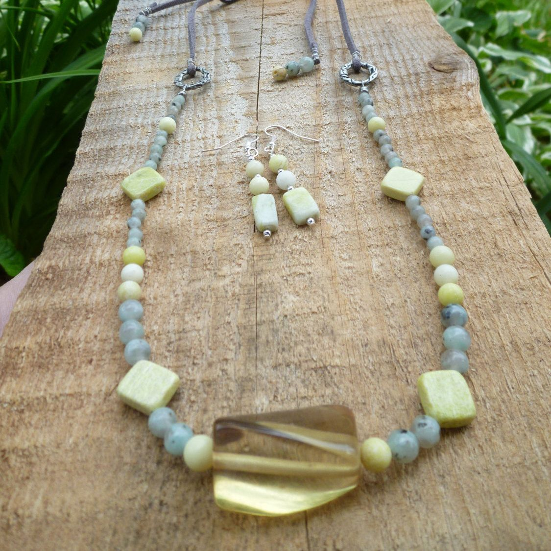 sesame jasper with olive jade necklace and earrings by DesisdesignsShop on Etsy