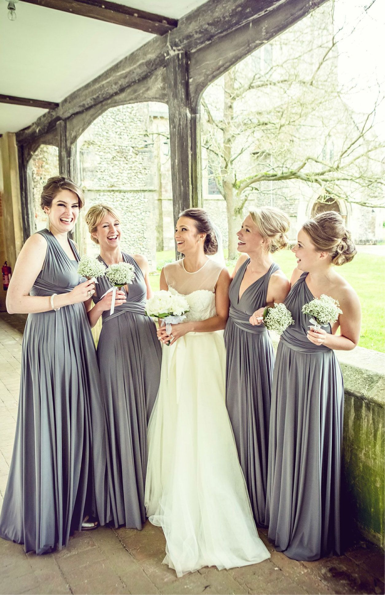 Martha stewart weddings gray never looked chicer thanks to these martha stewart weddings gray never looked chicer thanks to these charcoal convertible bridesmaid dresses by ombrellifo Gallery