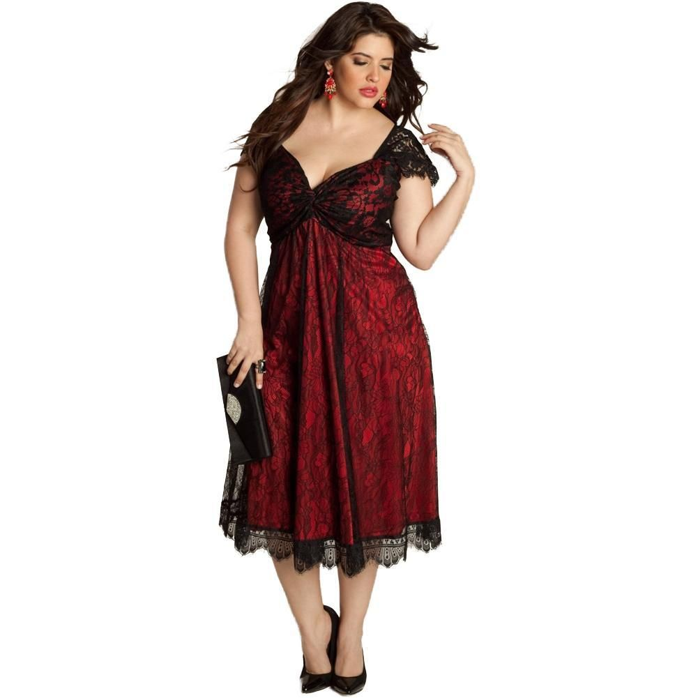 Sexy v neck cap sleeve floral lace midi plus size dress products