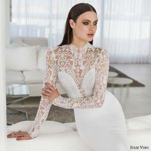 julie vino bridal spring 2015 urban abigaile illusion lace long sleeve wedding dress close up bodice