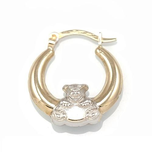Genuine 10kt Gold Sterling Silver Puffed Hoop Teddy Bear Earrings 85 00 Gold Platinum Jewelry Design 10kt Gold