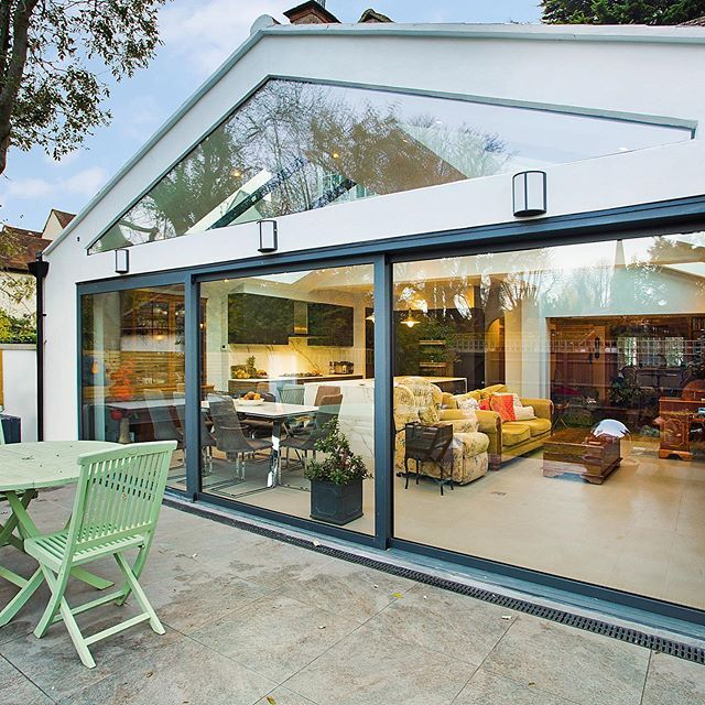 "Plus Rooms on Instagram: ""We removed an existing side and rear extension to create stunning wraparound extension with glazed gable roof. The subsequent large…"""