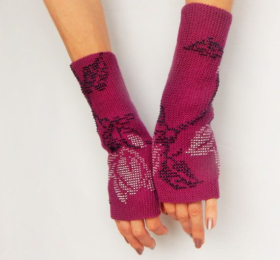 Long fingerless gloves purple wristers Unique pure by