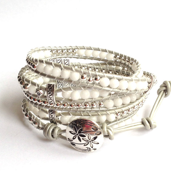 Silver And Leather Wrap Bracelet White By Lunaartdesigns On Etsy