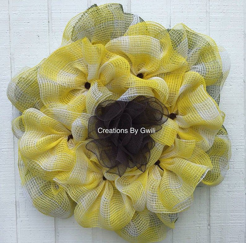 Photo of Yellow Sunflower, Pancake Wreath for Storm Door, Creations By Gwili