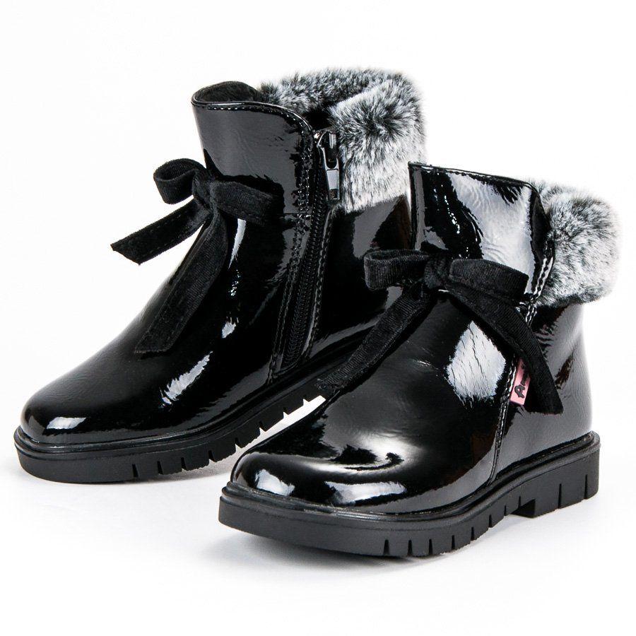 Kozaki Dla Dzieci Americanclub American Club Czarne Lakierowane Botki American Boots Winter Boot Fashion