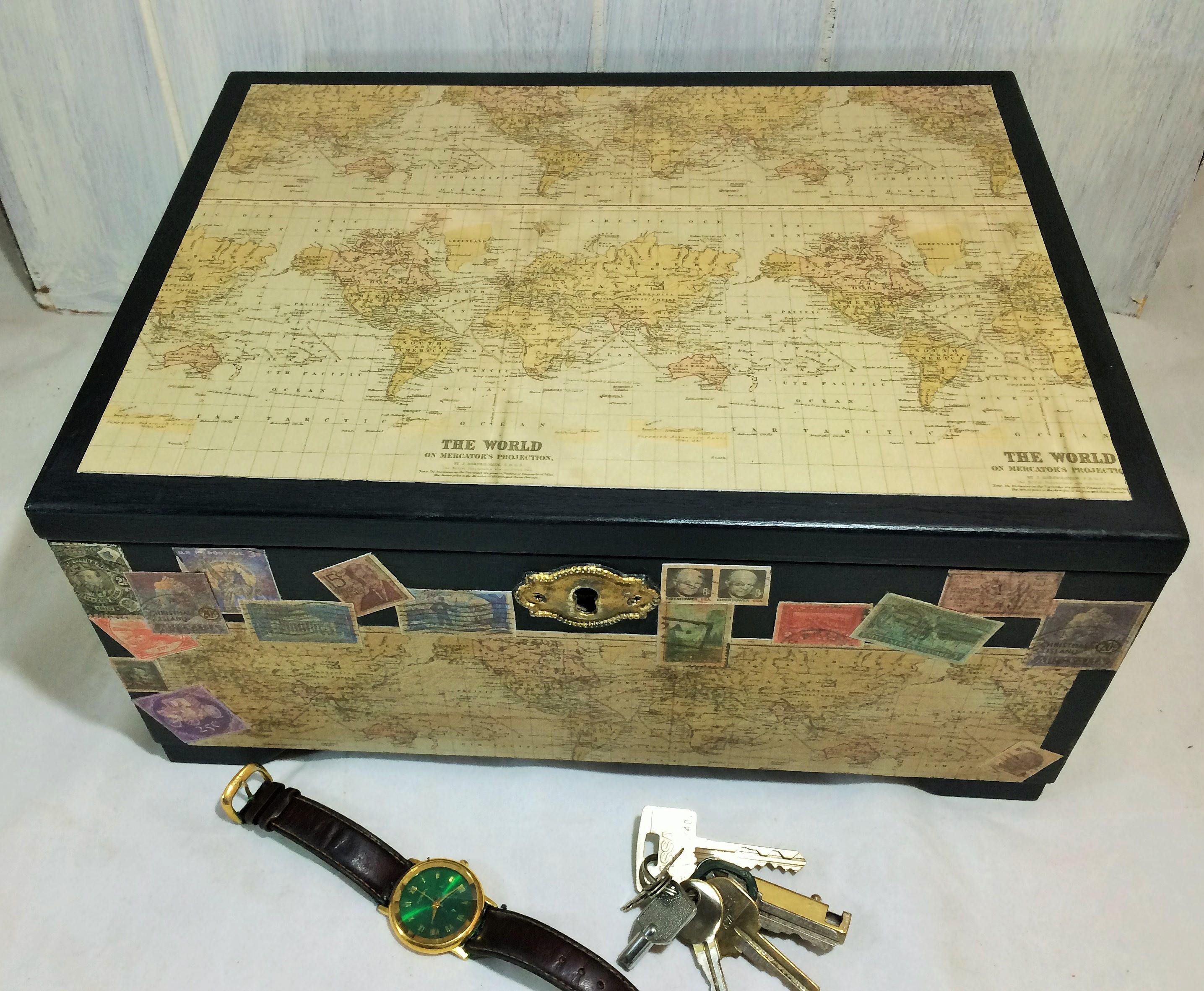 Large Black Jewelry Box Mens Jewelry Chest Antique Maps and