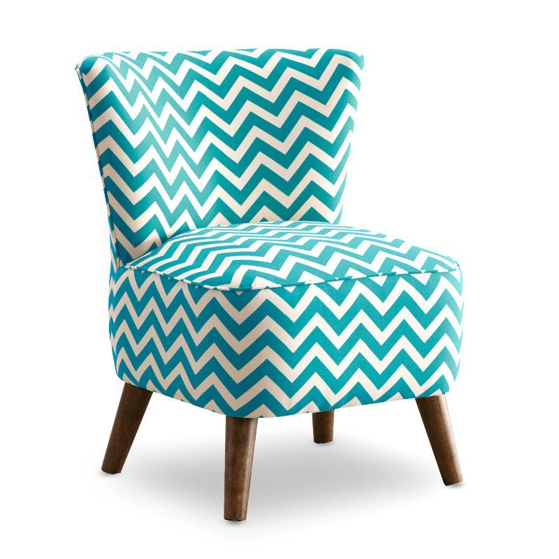 Zig Zag Teal and White Chair