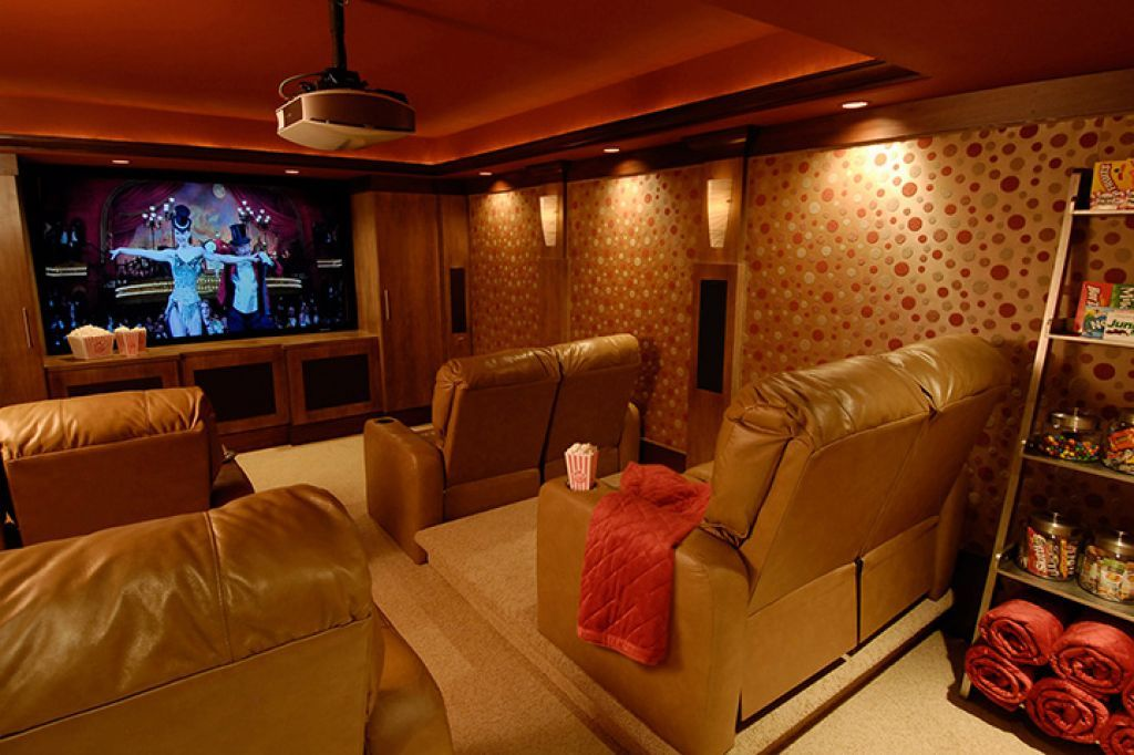 Home Theater With Recessed Lights And Wallpaper Tips For Installation