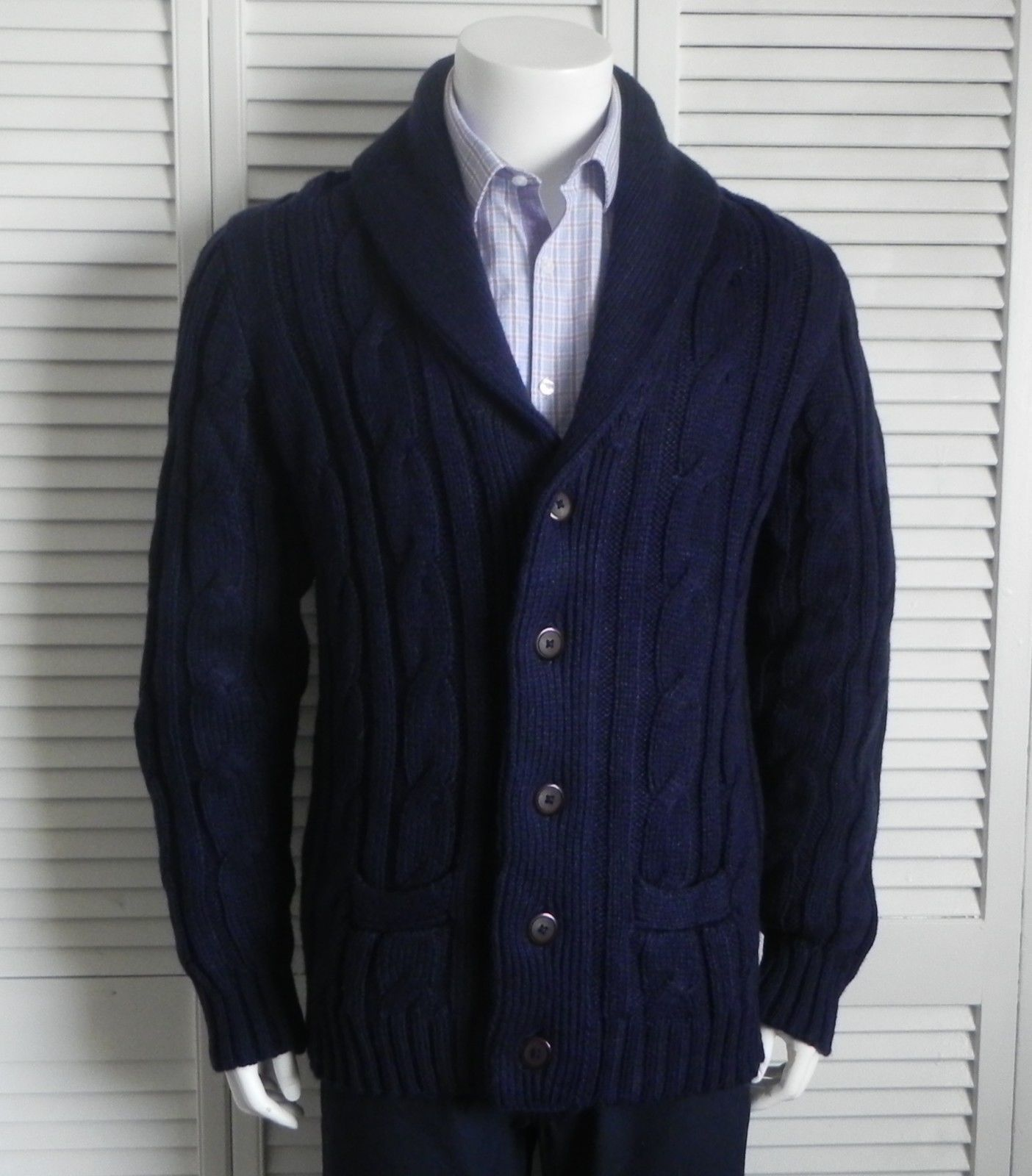 NEW Mens SZ 2XL XXL ALPACA Navy Blue Cable Knit Shawl Collar ...