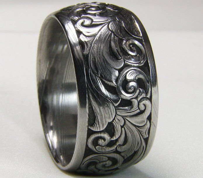Hand Engraved 12mm Damascus Wedding Band Hand Engraved Wedding Band Damascus Wedding Band Wedding Band Engraving