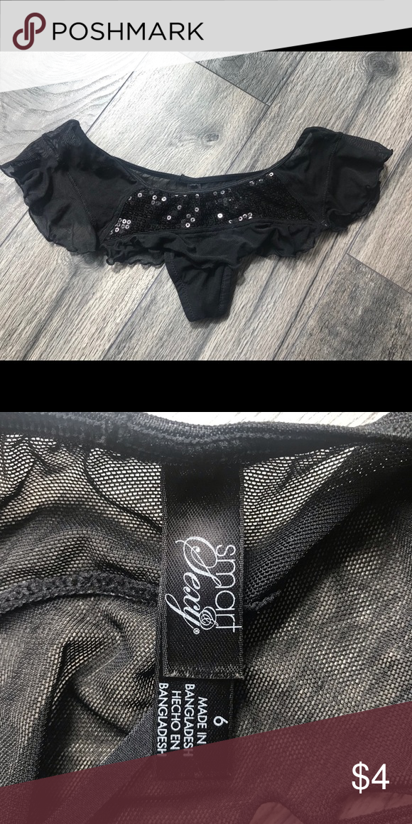 490fa4a82 Skirted thong lingerie NWOT Black sequin skirted lingerie size 6 smart   sexy  Intimates   Sleepwear Panties