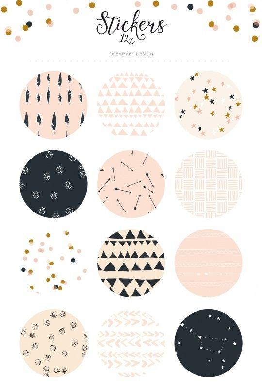 Download Sticker Set Pattern Aesthetic Stickers Bullet Journal Stickers Sticker Set