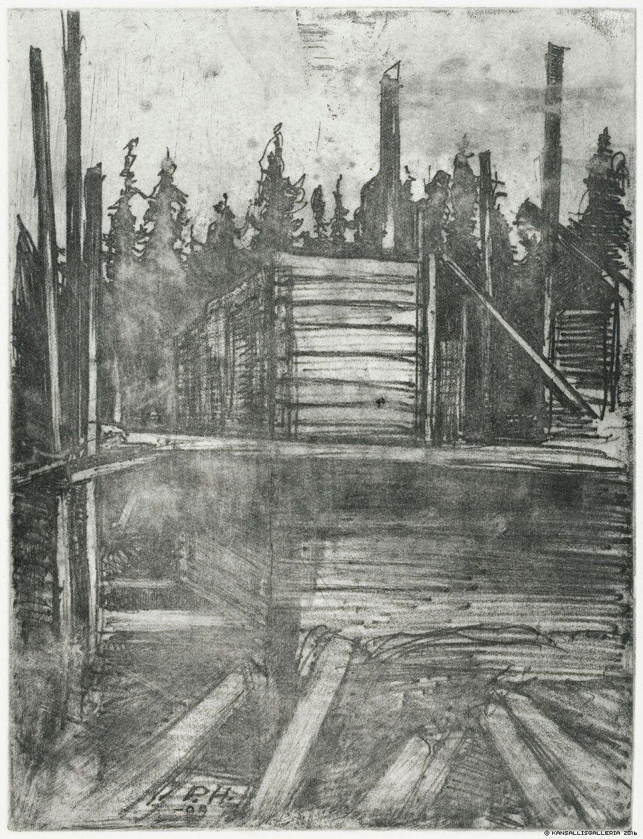 Hietasalmen huvilaa rakennetaan, 1909
