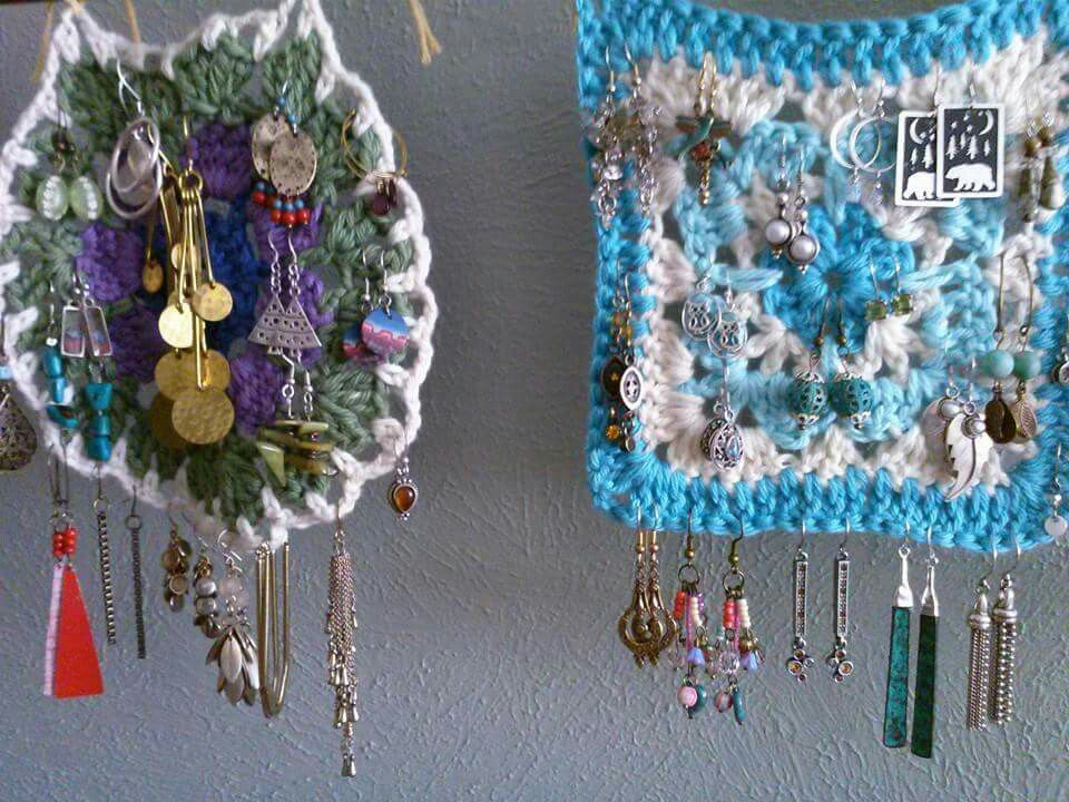 A good use for my granny squares!!  Now I can see all my earrings.