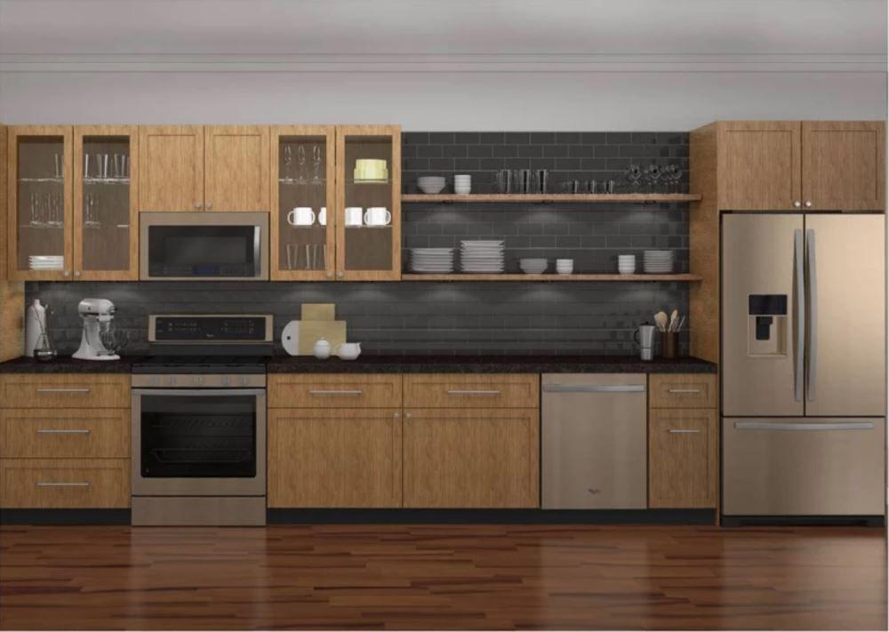 Whirlpool Sunset Bronze Kitchen Appliances Set In Medium Wood