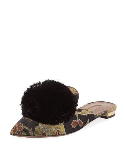 Aquazzura Powder Puff jacquard slippers D2G1C4zb