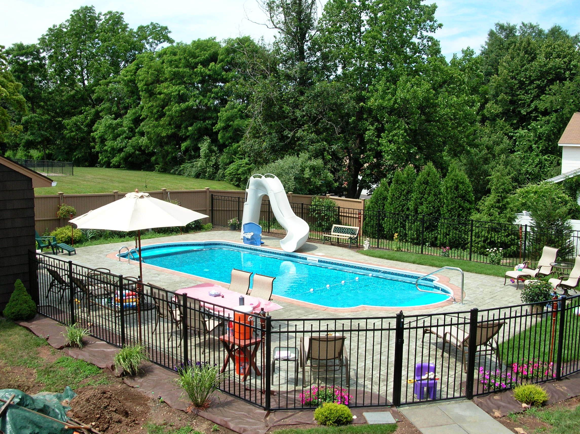 Exterior Swimming Pool Contractor Simple And Inexpensive Design Swimming Pool Maint Inground Pool Landscaping Backyard Pool Landscaping Swimming Pools Backyard