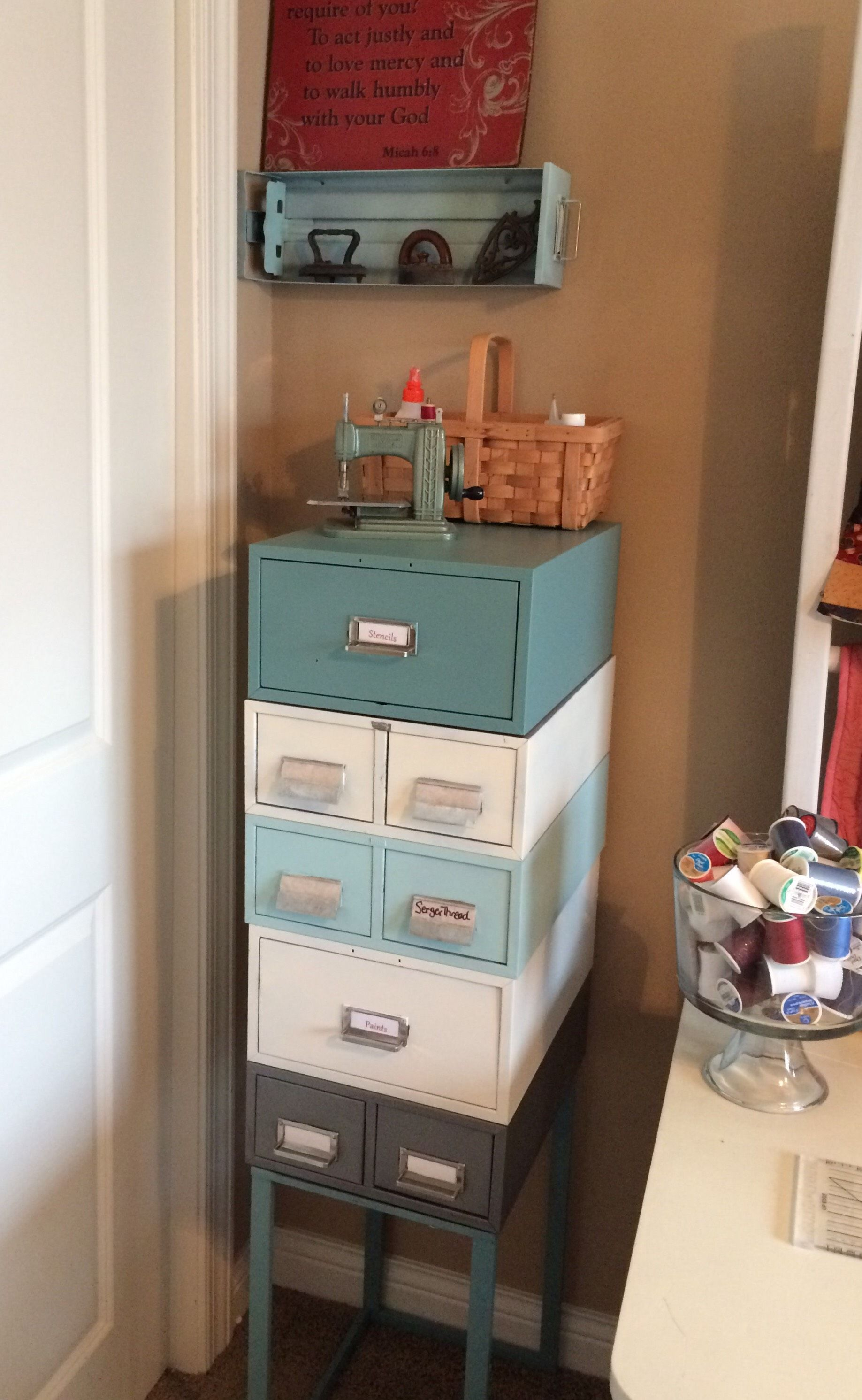 Made From 5 Metal Card Catalog Files Used A Metal Framed End Table Base Repurposed Furniture Painting Metal Cabinets Recycled Furniture