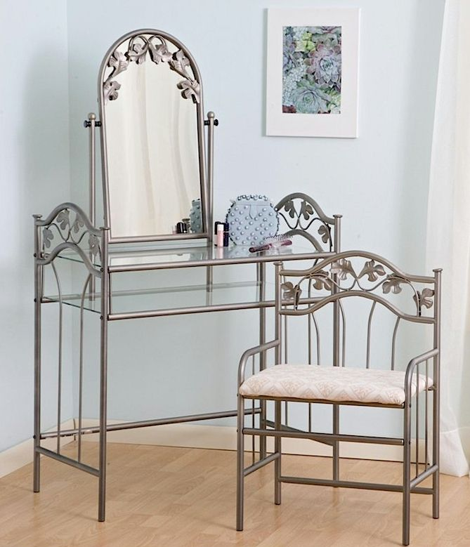Delicieux Bedroom Vanity Sets 2PC Metal Vanity Table Set With Mirror Shelves And  Matching Stool In Nickel Bronze Finish At Vistafurniture Bedroom Vanities