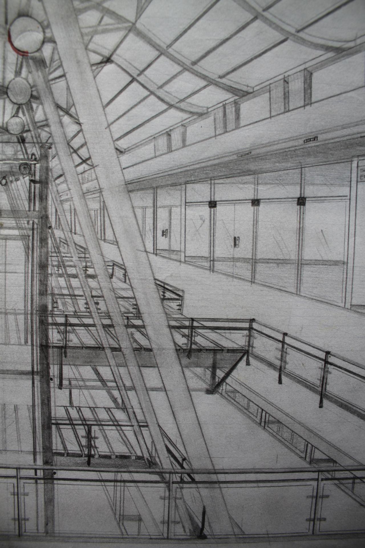 Dibujo a un punto de fuga interior ventura plaza for Exterior un punto de fuga
