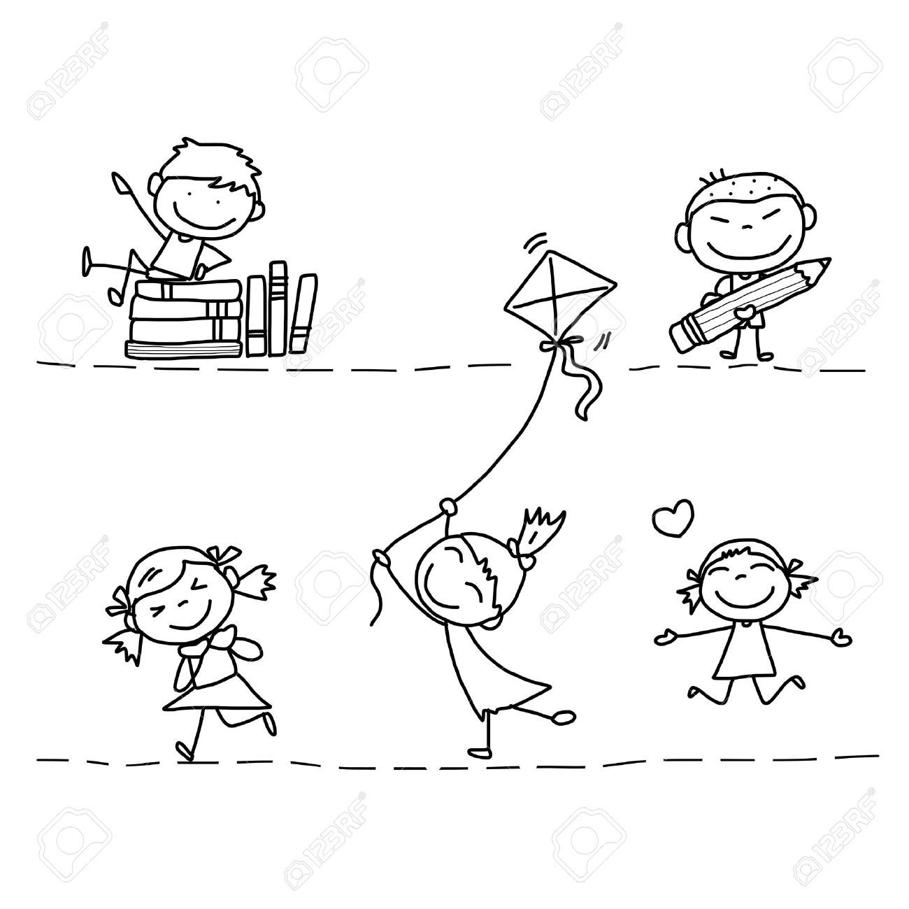 set of hand drawing cartoon happy kids playing royalty free cliparts vectors and stock - Cartoon Drawings Kids