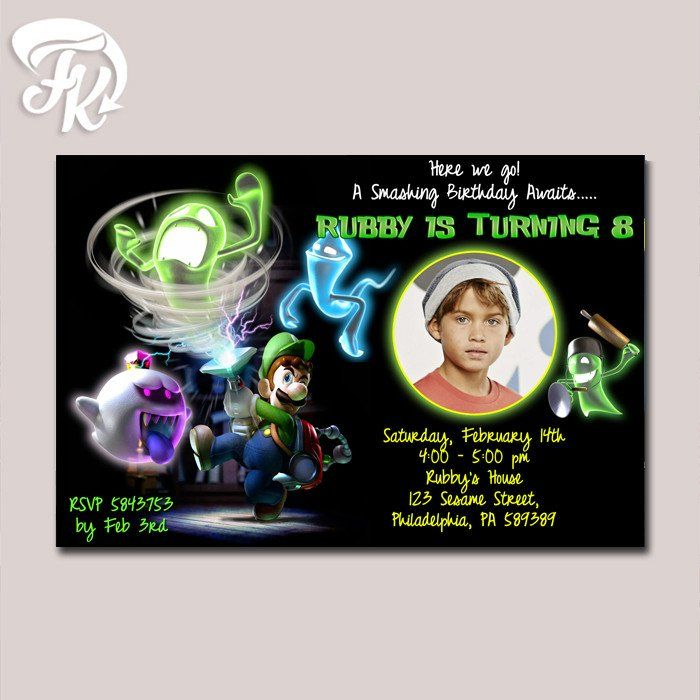 thank you card Invite luigi Luigi/'s Mansion Digital Party invitation birthday