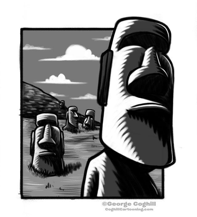 Easter Island Moai Cartoon Sketch Easter Island Heads Tiki Art Island Art