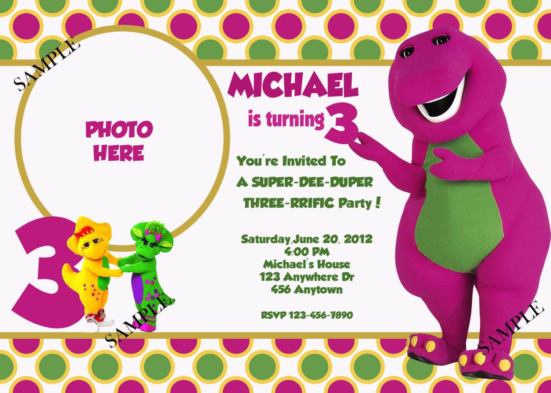 Barney birthday invitation | 1st birthday | Pinterest | Barney ...