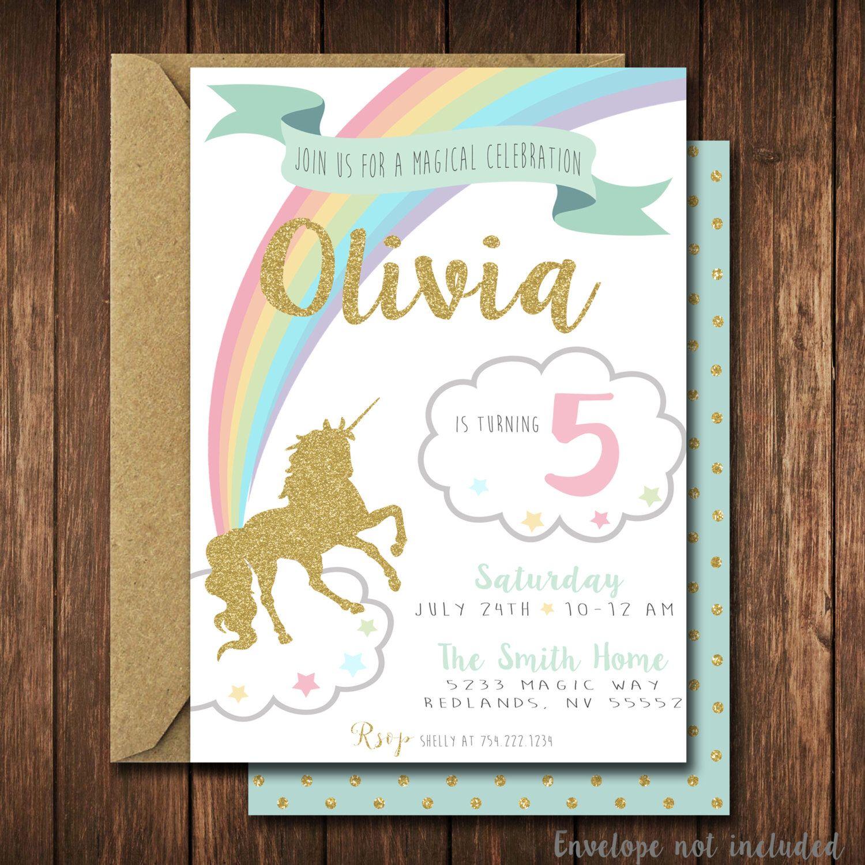Unicorn Birthday Invitation Unicorn Invitation Unicorn Invite
