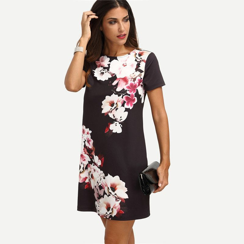 afd5a012e806 Summer Dress Women Casual Dress Multi color Floral Short Sleeve Floral  ITC497…