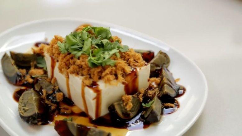 Preserved Duck Egg & Tofu appetizer | 皮蛋豆腐  Pídàn dòufu
