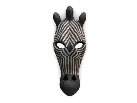 AF Hand Carved Zebra Mask
