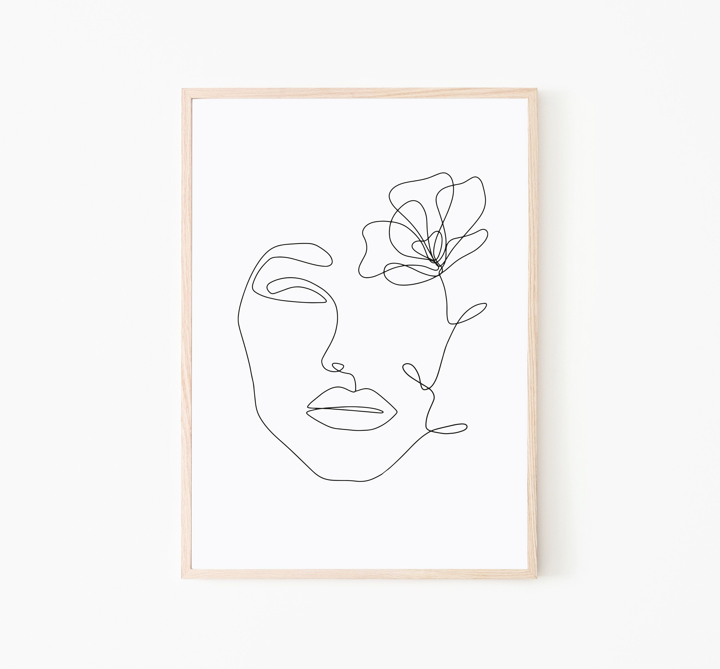 One Line Print Line Drawing Print Female Face Drawing Portrait In One Line Art Beauty Illustration Print Fash Line Art Drawings Abstract Line Art Line Art