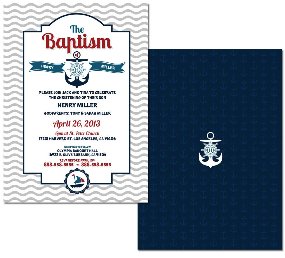 Nautical Baptism Invitation 4411 Design Henrym Baptism Invitations Nautical Invitations Nautical Theme