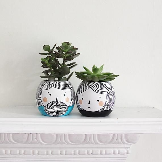 Photo of Planters Pair of Two/ Monochrome Planter/ Succulent Planter/ Small Ceramic Plant Pot