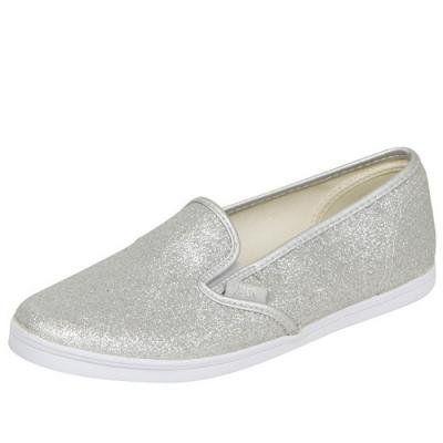 fe3af372c63 Vans Slip-On Lo Pro (Glitter) Silver  True White VN-0F4Y66A
