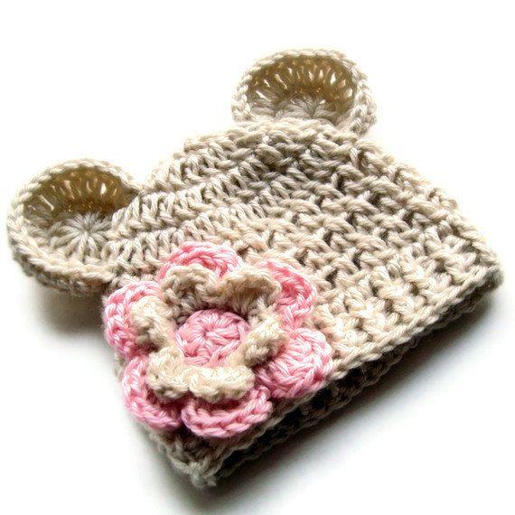 Baby Girl Hat, Baby Girl Crochet Hat. Crochet Baby Beanie Hat with ...