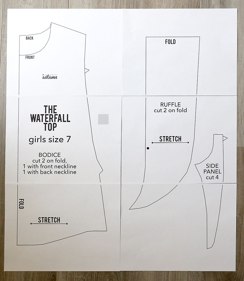 The waterfall top pattern for girls {how to sew a ruffle
