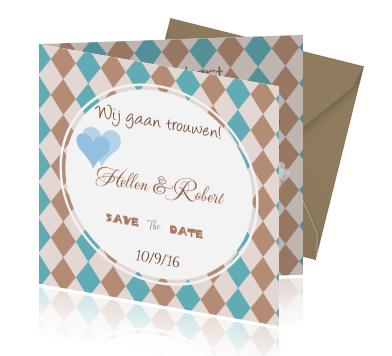 Save The Date Uitnodiging Met Ruitjes Trendy Luxe