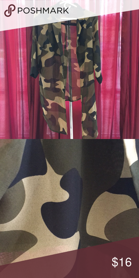 Camouflage Sheer Top Sheer camouflage blouse is in excellent condition! Double Zero Tops