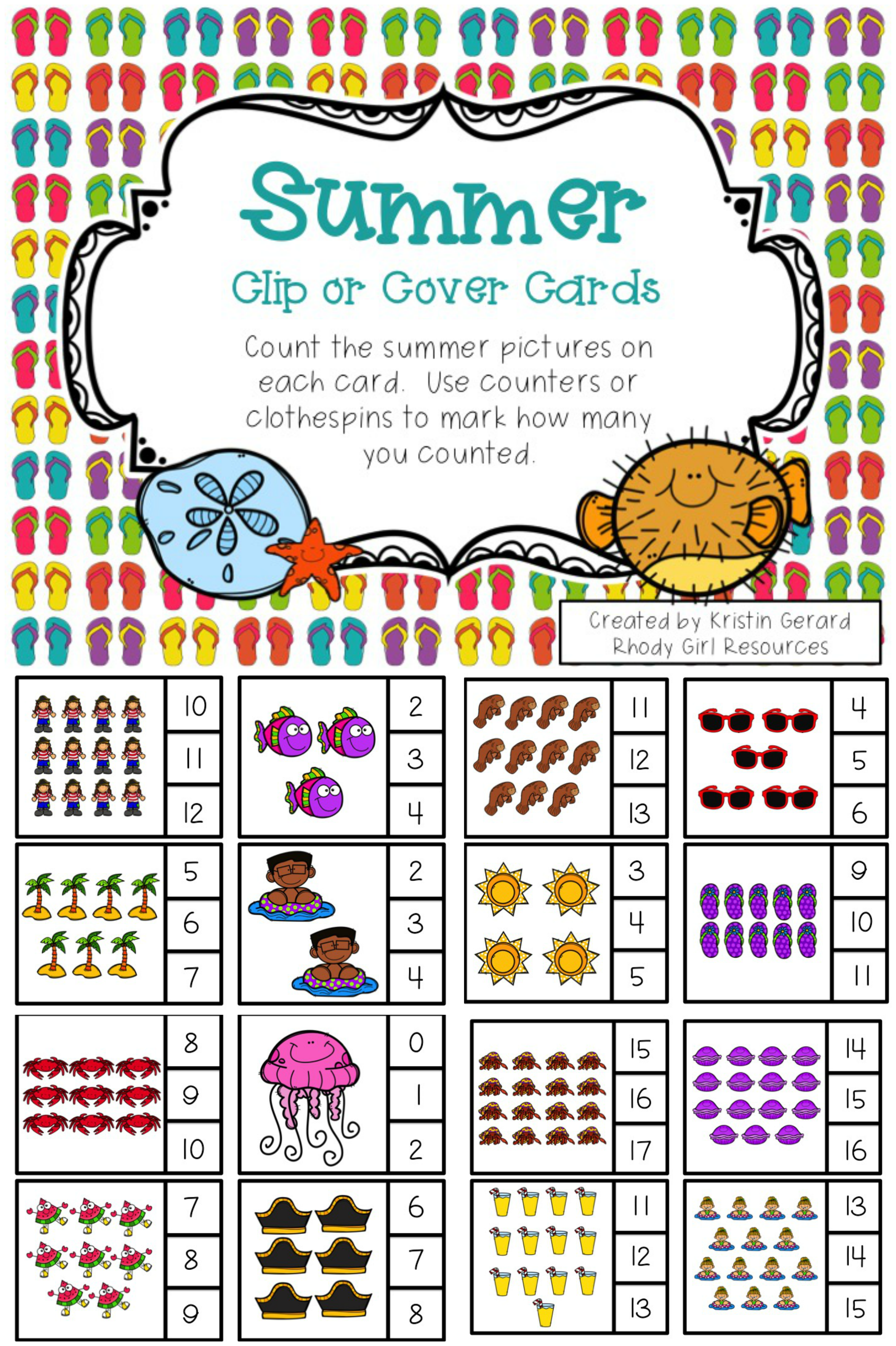 Counting Clip Cards Summer