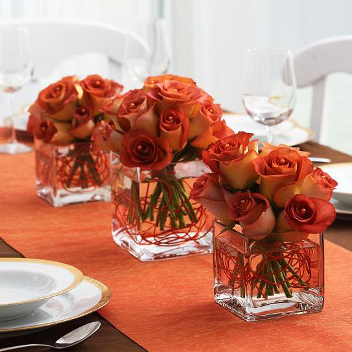 Autumn Rose Centerpiece With Vases (copper Wire)
