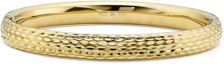 Gold Opulence 14K Gold Over Diamond Resin DiamondCut Bangle