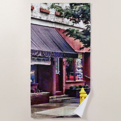 Owego Ny Fire Hydrant By Barber Shop Beach Towel In 2018 Beach