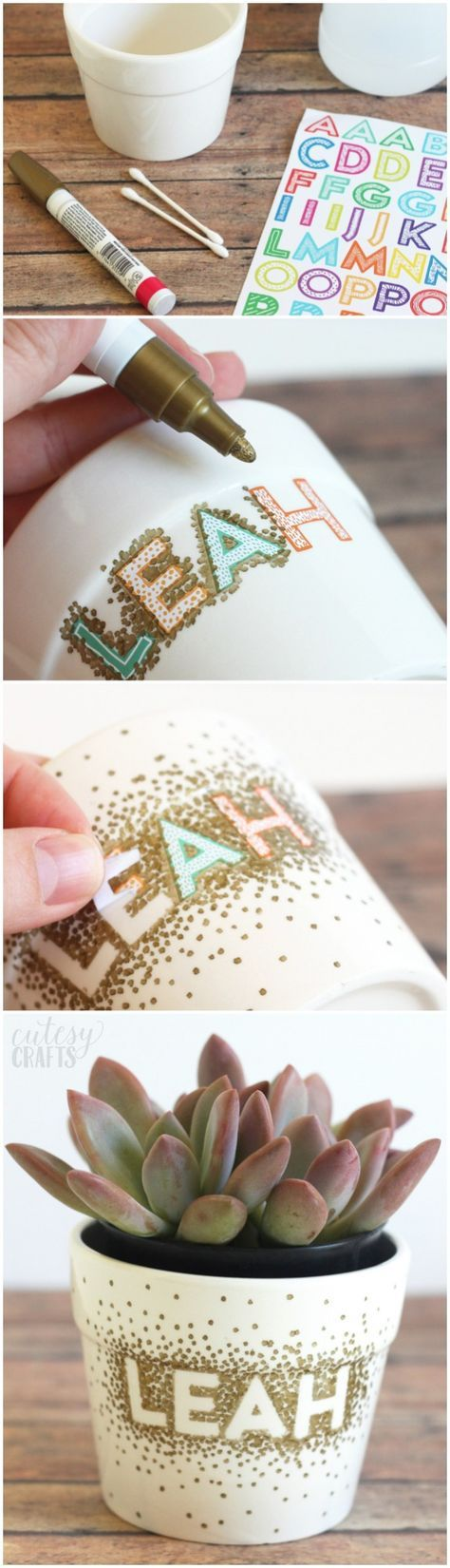 Use a Sharpie to make dots in this unique flower pot craft! It's so easy that a child could do it, and you just need a few simple supplies. via /diy_candy/