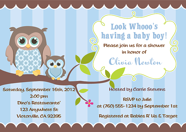 $1 owl boy baby shower invitations-owl,baby,shower,boy,