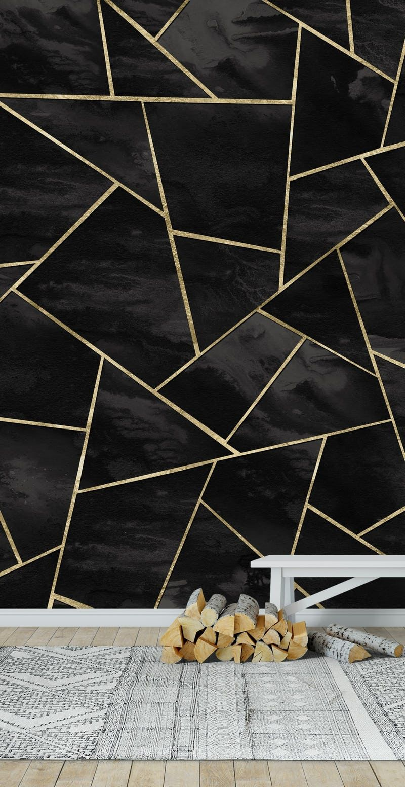 Black Ink Gold Geometric 1 Wallpaper From Happywall Com Geometric Wall Paint Geometric Wallpaper Living Room Gold Wallpaper Living Room