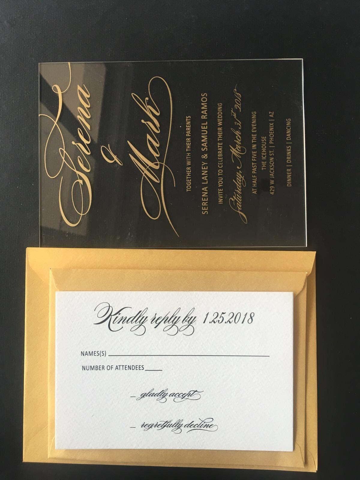 Acrylic Wedding Invitations Clear Acrylic Gold Wedding Invitations